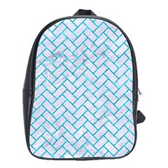 Brick2 White Marble & Turquoise Marble (r) School Bag (large)