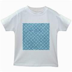 Woven2 White Marble & Turquoise Glitter (r) Kids White T Shirts
