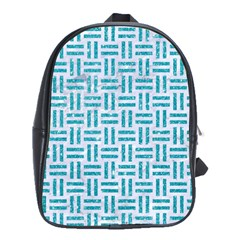 Woven1 White Marble & Turquoise Glitter (r) School Bag (large)