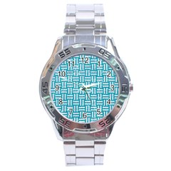 Woven1 White Marble & Turquoise Glitter Stainless Steel Analogue Watch