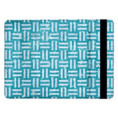 Woven1 White Marble & Turquoise Glitter Samsung Galaxy Tab Pro 12 2  Flip Case