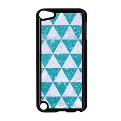Triangle3 White Marble & Turquoise Glitter Apple Ipod Touch 5 Case (black)