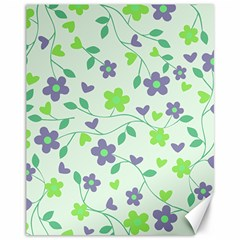 Green Vintage Flowers Canvas 11  X 14