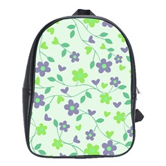 Green Vintage Flowers School Bag (large)