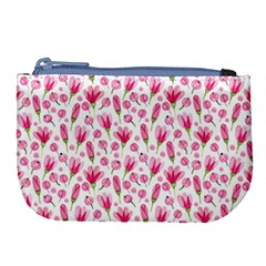 Watercolor Spring Flowers Pattern Large Coin Purse