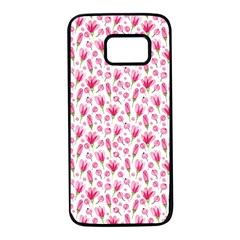 Watercolor Spring Flowers Pattern Samsung Galaxy S7 Black Seamless Case