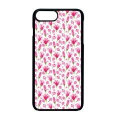 Watercolor Spring Flowers Pattern Apple Iphone 7 Plus Seamless Case (black)