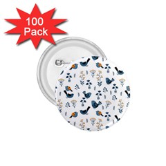Spring Flowers And Birds Pattern 1 75  Buttons (100 Pack)