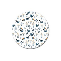 Spring Flowers And Birds Pattern Magnet 3  (round)