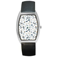 Spring Flowers And Birds Pattern Barrel Style Metal Watch