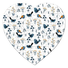 Spring Flowers And Birds Pattern Jigsaw Puzzle (heart)
