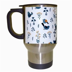 Spring Flowers And Birds Pattern Travel Mugs (white)