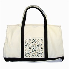 Spring Flowers And Birds Pattern Two Tone Tote Bag