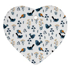 Spring Flowers And Birds Pattern Heart Ornament (two Sides)
