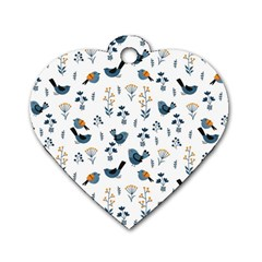 Spring Flowers And Birds Pattern Dog Tag Heart (two Sides)