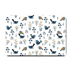 Spring Flowers And Birds Pattern Small Doormat