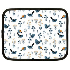 Spring Flowers And Birds Pattern Netbook Case (large)