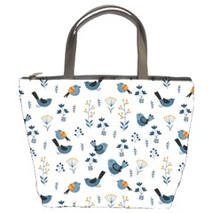 Spring Flowers And Birds Pattern Bucket Bags