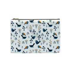 Spring Flowers And Birds Pattern Cosmetic Bag (medium)