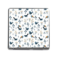 Spring Flowers And Birds Pattern Memory Card Reader (square)