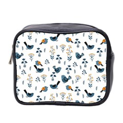 Spring Flowers And Birds Pattern Mini Toiletries Bag 2 Side