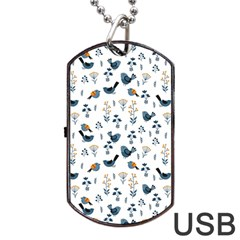 Spring Flowers And Birds Pattern Dog Tag Usb Flash (one Side)