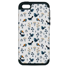 Spring Flowers And Birds Pattern Apple Iphone 5 Hardshell Case (pc+silicone)