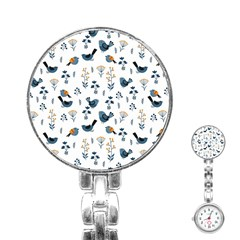Spring Flowers And Birds Pattern Stainless Steel Nurses Watch