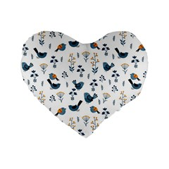 Spring Flowers And Birds Pattern Standard 16  Premium Flano Heart Shape Cushions