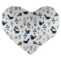 Spring Flowers And Birds Pattern Large 19  Premium Flano Heart Shape Cushions