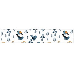 Spring Flowers And Birds Pattern Large Flano Scarf