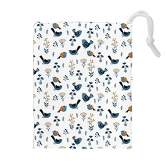 Spring Flowers And Birds Pattern Drawstring Pouches (extra Large)