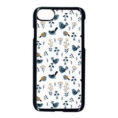 Spring Flowers And Birds Pattern Apple Iphone 7 Seamless Case (black)