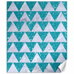 Triangle2 White Marble & Turquoise Glitter Canvas 20  X 24