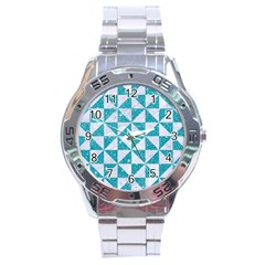 Triangle1 White Marble & Turquoise Glitter Stainless Steel Analogue Watch
