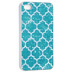 Tile1 White Marble & Turquoise Glitter Apple Iphone 4/4s Seamless Case (white)