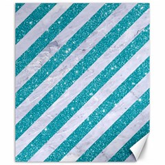 Stripes3 White Marble & Turquoise Glitter (r) Canvas 20  X 24