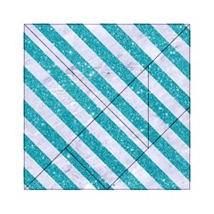 Stripes3 White Marble & Turquoise Glitter Acrylic Tangram Puzzle (6  X 6 )