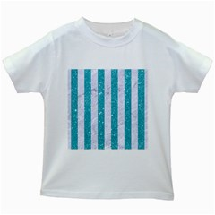 Stripes1 White Marble & Turquoise Glitter Kids White T Shirts