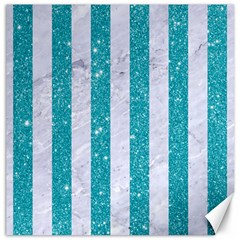 Stripes1 White Marble & Turquoise Glitter Canvas 16  X 16