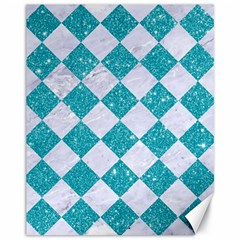 Square2 White Marble & Turquoise Glitter Canvas 11  X 14