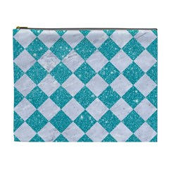 Square2 White Marble & Turquoise Glitter Cosmetic Bag (xl)