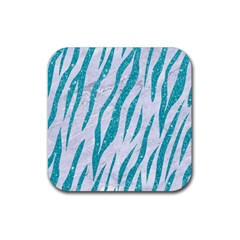 Skin3 White Marble & Turquoise Glitter (r) Rubber Square Coaster (4 Pack)