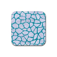 Skin1 White Marble & Turquoise Glitter Rubber Square Coaster (4 Pack)