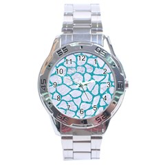 Skin1 White Marble & Turquoise Glitter Stainless Steel Analogue Watch