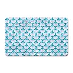 Scales3 White Marble & Turquoise Glitter (r) Magnet (rectangular)