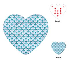 Scales3 White Marble & Turquoise Glitter (r) Playing Cards (heart)