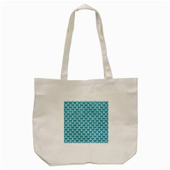 Scales3 White Marble & Turquoise Glitter Tote Bag (cream)