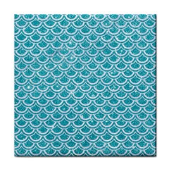 Scales2 White Marble & Turquoise Glitter Face Towel