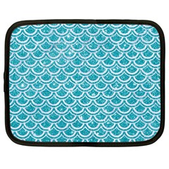Scales2 White Marble & Turquoise Glitter Netbook Case (xxl)